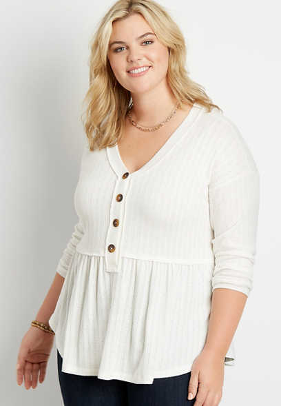 Plus Size Solid Button Front Babydoll Long Sleeve Top