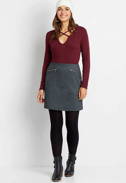 High Rise Gray Chevron Skirt