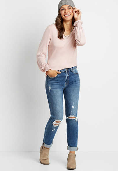 Flying Monkey™ Dark Wash Destructed Boyfriend Jean