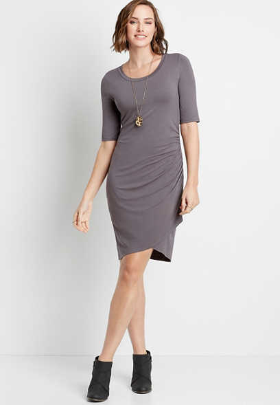 Solid Gray Cinch Side Mini Dress