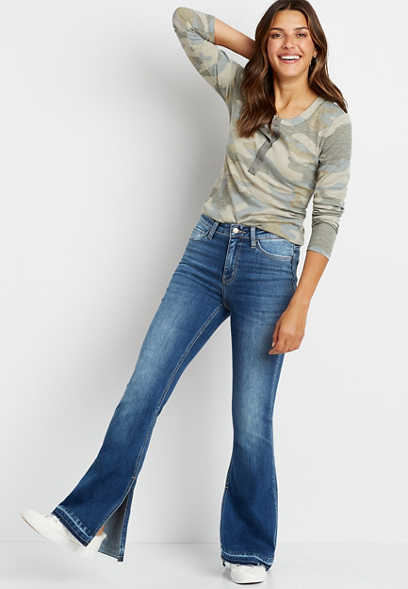 Flying Monkey™ High Rise Medium Release Slit Hem Flare Leg Jean