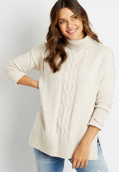 Solid Cable Knit Turtle Neck Boyfriend Pullover Sweater