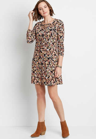 Black Floral Strappy Neck Long Sleeve Shirt Dress