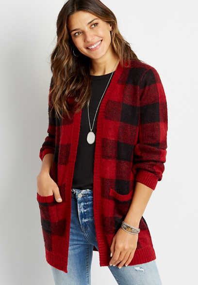 Red Buffalo Plaid Open Front Pocket Cardigan