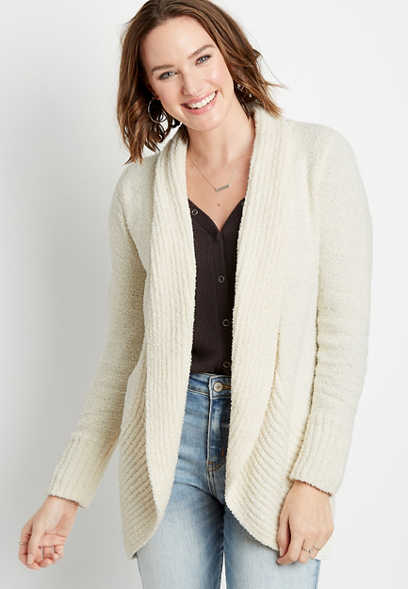 White Cozy Teddy Open Front Cardigan