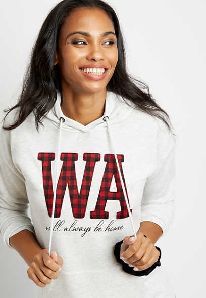 Buffalo Plaid Washington State Pullover Hoodie