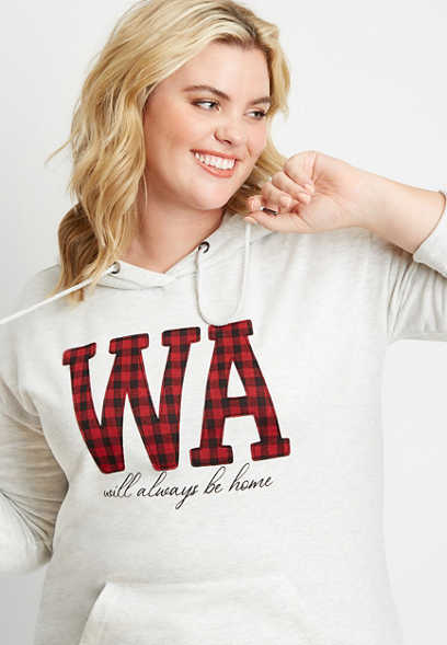 Plus Size Buffalo Plaid Washington State Pullover Hoodie