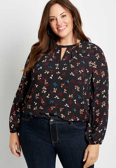 Plus Size Black Ditsy Floral Twist Cut Out Neck Blouse