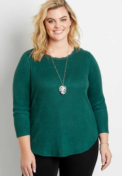 Maurices Plus Size 24/7 Solid Lace Trim Long Sleeve Cozy Ribbed Tee