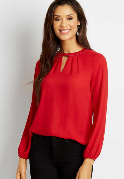 Red Beaded Twist Cut Out Neck Blouse