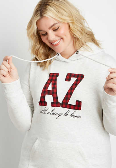 Plus Size Buffalo Plaid Arizona State Pullover Hoodie