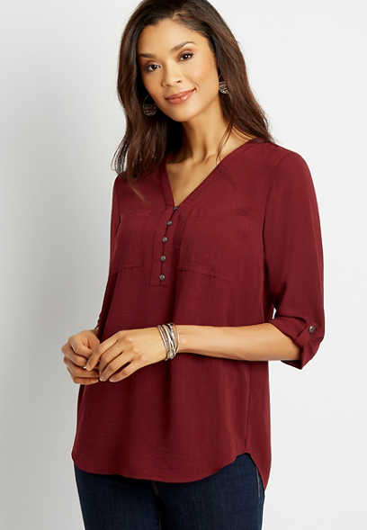Berry Button Front Tunic Blouse