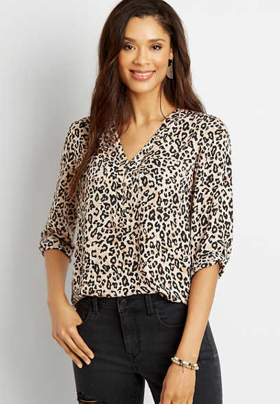 Leopard Button Front Tunic Blouse