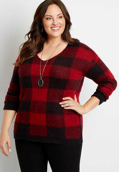 Plus Size Buffalo Plaid V Neck Pullover Sweater