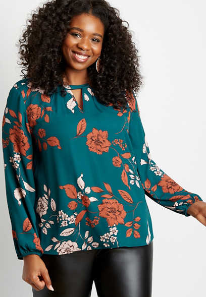 Plus Size Blue Floral Twist Cut Out Neck Blouse