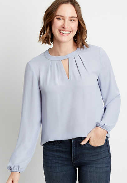 Periwinkle Beaded Twist Cut Out Neck Blouse