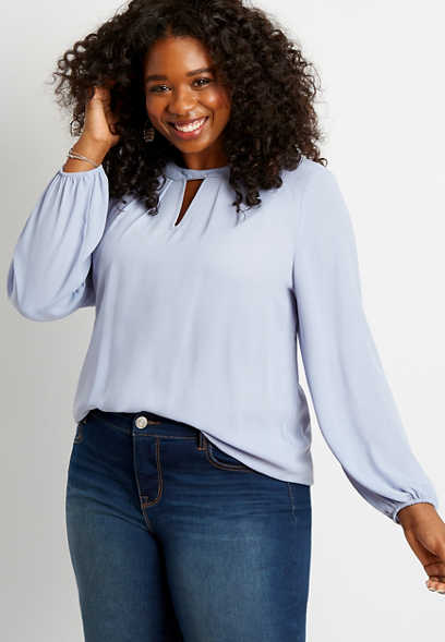 Plus Size Periwinkle Beaded Twist Cut Out Neck Blouse