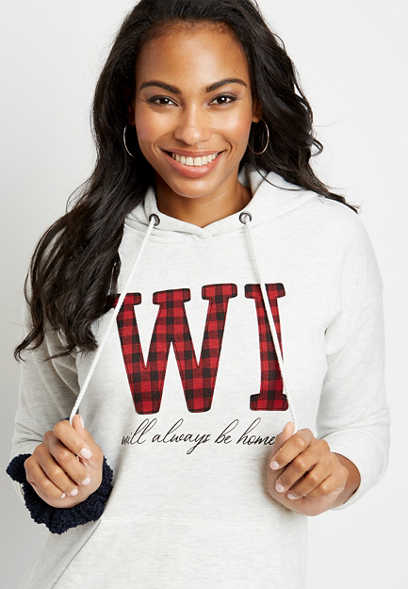 Buffalo Plaid Wisconsin State Pullover Hoodie