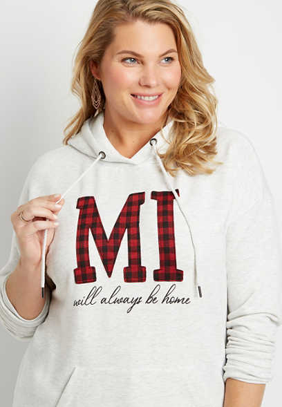 Plus Size Buffalo Plaid Michigan State Pullover Hoodie