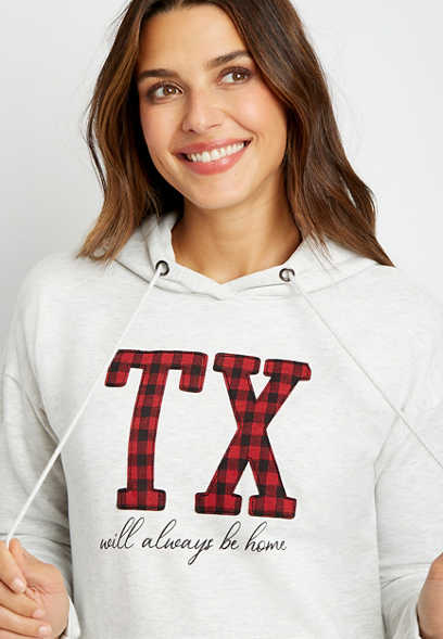 Buffalo Plaid Texas State Pullover Hoodie