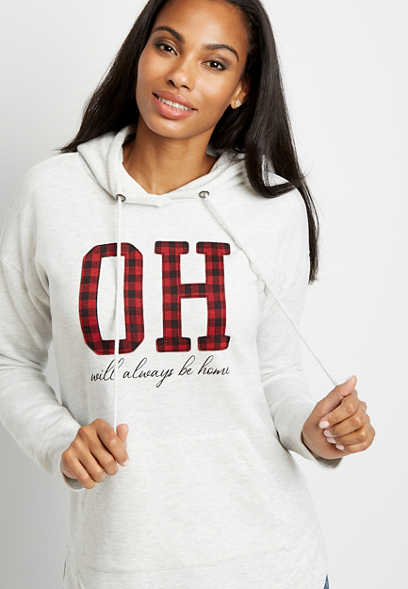 Buffalo Plaid Ohio State Pullover Hoodie