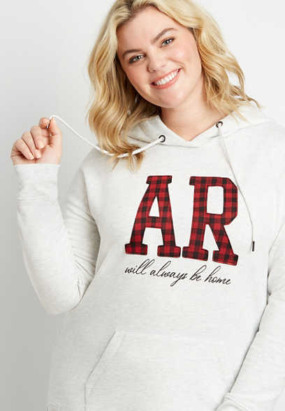 Plus Size Buffalo Plaid Arkansas State Pullover Hoodie