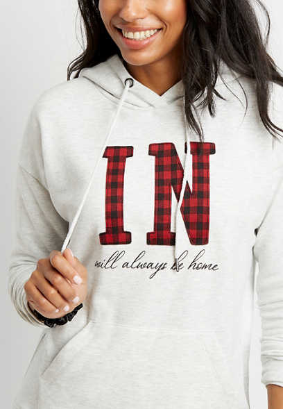 Buffalo Plaid Indiana State Pullover Hoodie