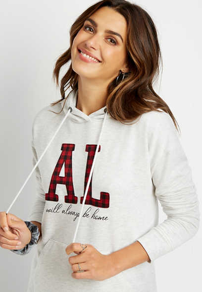 Buffalo Plaid Alabama State Pullover Hoodie
