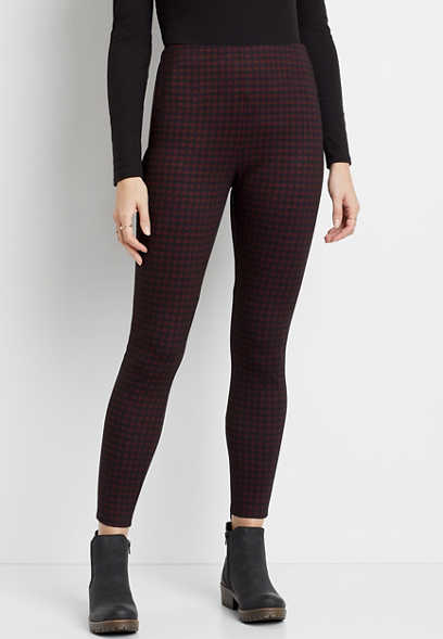 High Rise Plaid Pull On Slimming Ponte Pant