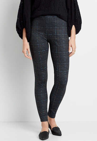 High Rise Houndstooth Pull On Slimming Ponte Pant