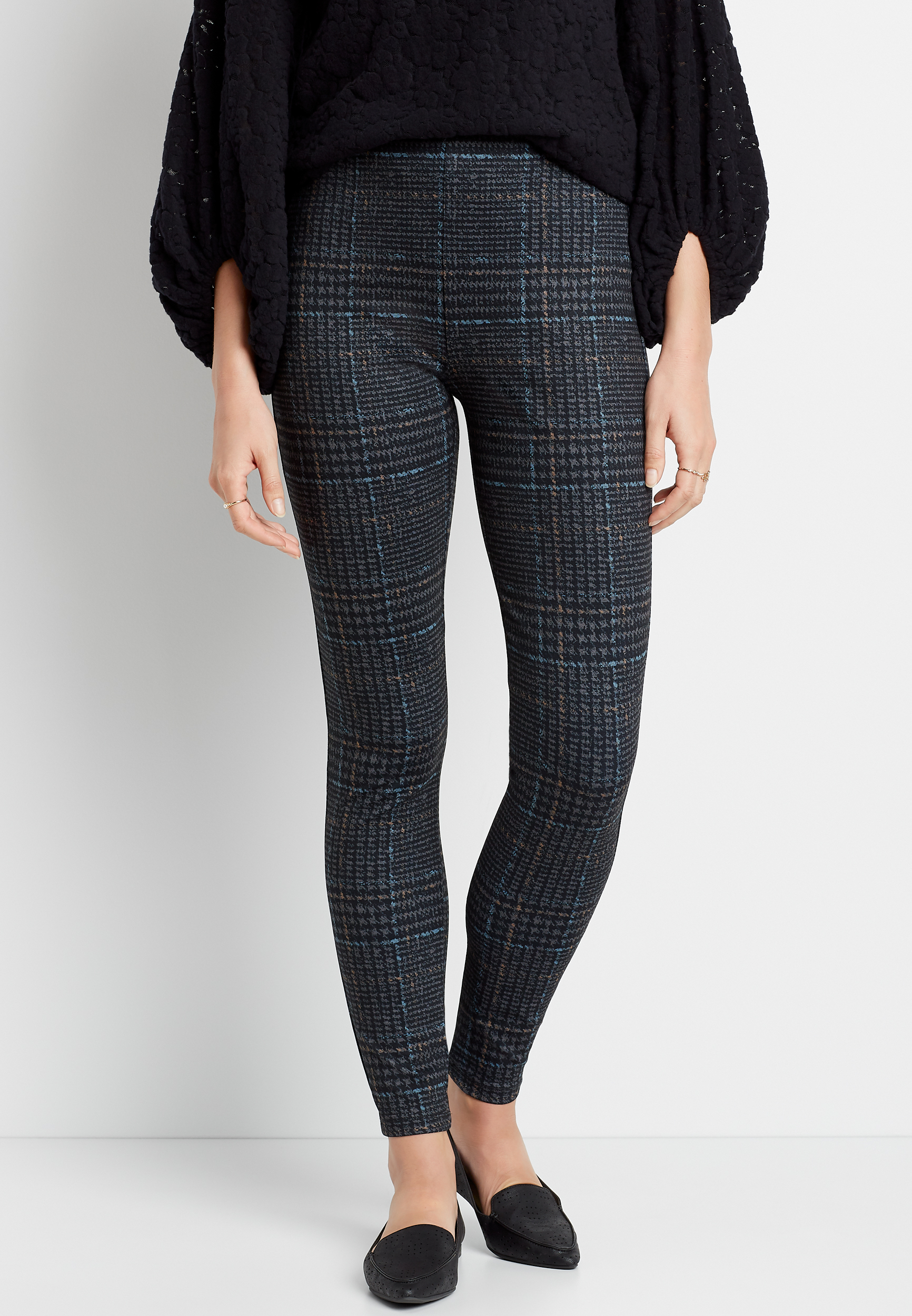 Maurices High Rise Houndstooth Pull On Slimming Ponte Legging