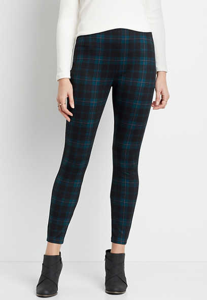 High Rise Blue Plaid Pull On Slimming Ponte Pant