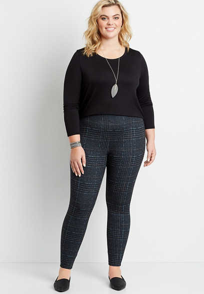 Plus Size High Rise Houndstooth Pull On Slimming Ponte Pant