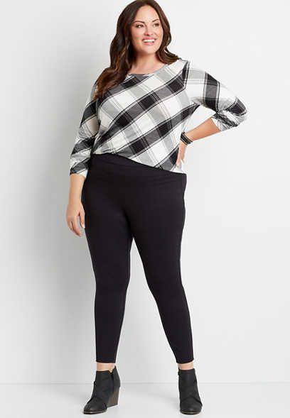 Plus Size Black High Rise Ponte Knit Stacked Waist Skinny Ankle Pant