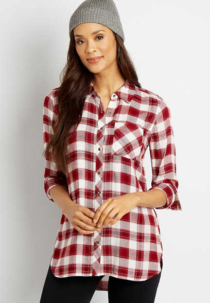 White Plaid Button Down Tunic Shirt