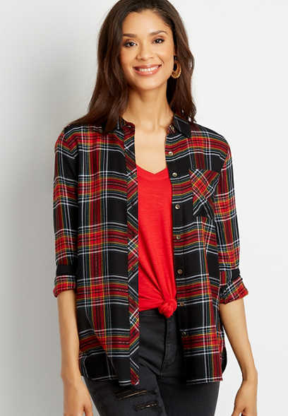 Metallic Black Plaid Button Down Tunic Shirt