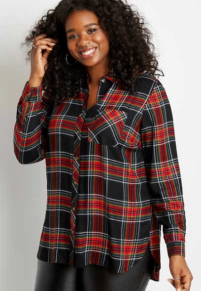 Plus Size Metallic Black Plaid Button Down Tunic Shirt