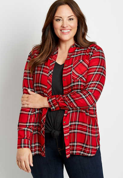 Plus Size Metallic Red Plaid Button Down Tunic Shirt