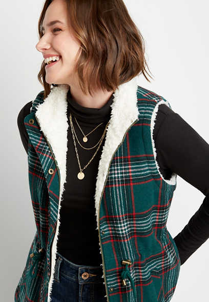 Green Plaid Sherpa Lined Cinch Waist Vest