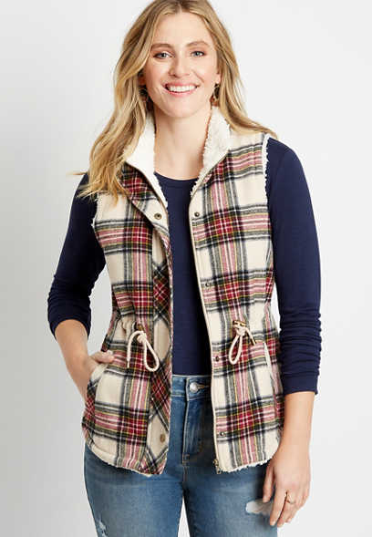 Plaid Sherpa Lined Cinch Waist Vest