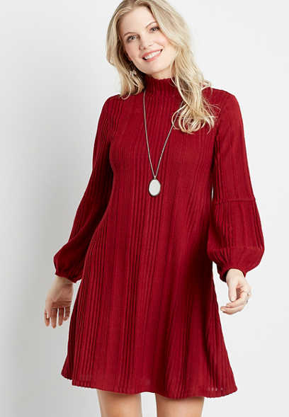 Wine Ribbed Mock Neck Shift Dress