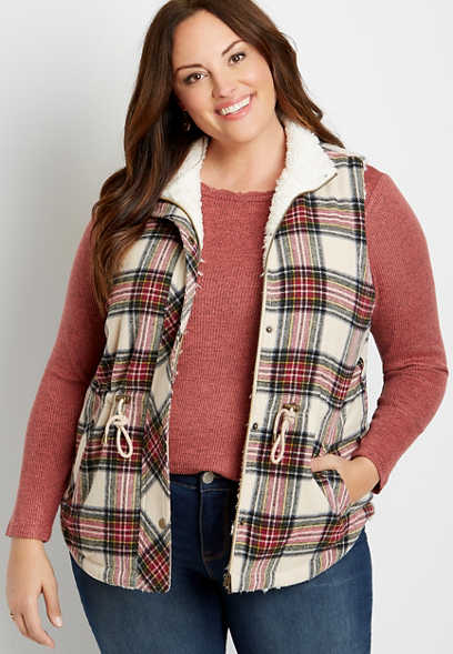 Plus Size Plaid Sherpa Lined Cinch Waist Vest