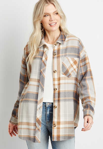 Neutral Plaid Oversized Flannel Shacket