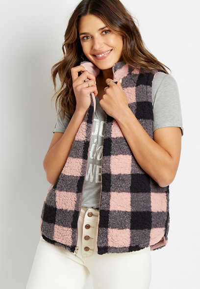 Pink Buffalo Plaid Reversible Sherpa Zip Up Vest