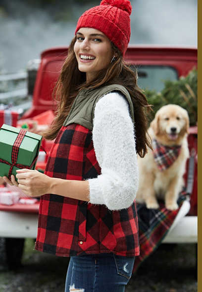 Red Buffalo Plaid Flannel Puffer Zip Up Vest