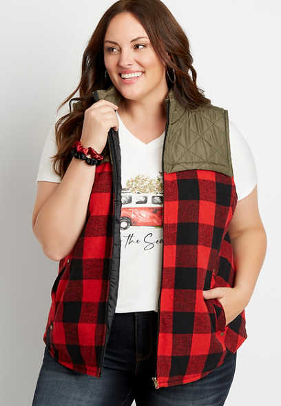Plus Size Red Buffalo Plaid Flannel Puffer Zip Up Vest