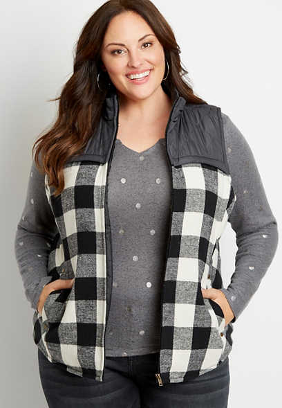 Plus Size Black Buffalo Plaid Flannel Puffer Zip Up Vest