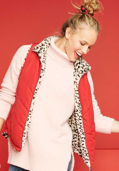 Leopard Reversible Sherpa Zip Up Vest