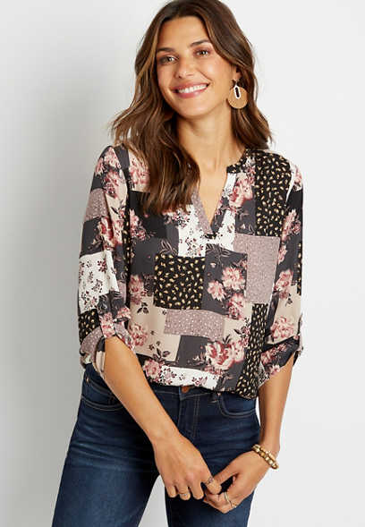 Gray Patchwork Floral V Neck Popover Blouse