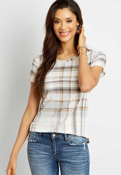 24/7 White Plaid Crew Neck Classic Tee